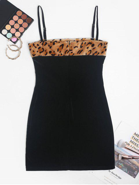 Chasuble Leopard Samt Flauschige Figurbetontes Kleid - Schwarz M Mobile