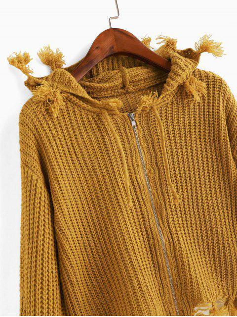 Hoodie Strickjacke mit Reißverschluss ,Kordelzug und ausgefranstem Saum - Karamell Eine Größe Mobile
