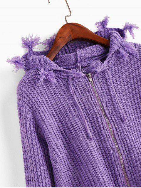 連帽拉鍊磨損的抽繩開衫 - 紫色 One Size Mobile