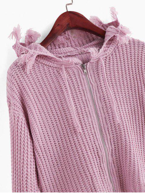 Hoodie Strickjacke mit Reißverschluss ,Kordelzug und ausgefranstem Saum - Pink Eine Größe Mobile