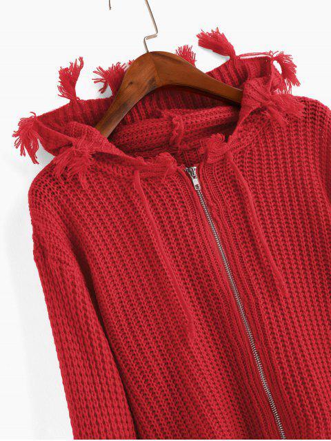 Hoodie Strickjacke mit Reißverschluss ,Kordelzug und ausgefranstem Saum - Rot Eine Größe Mobile