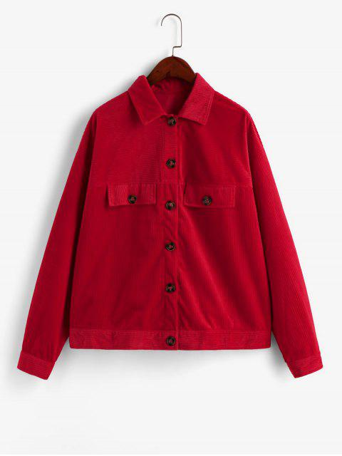 ZAFUL Knopf Künstliche Taschen Cord Shirt Jacke - Rot S Mobile