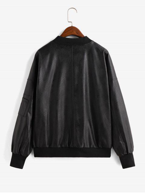 仿皮拉環拉鍊口袋的飛行員夾克 - 黑色 L Mobile