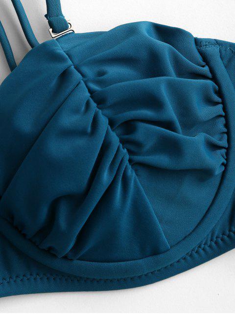 ZAFUL聚集鋼圈高腿比基尼泳裝 - 孔雀藍 M Mobile
