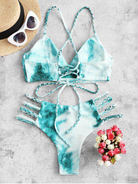 ZAFUL Maillot de Bain Bikini Tressé Teinté à Lacets à Bretelle - Multi-A L Mobile