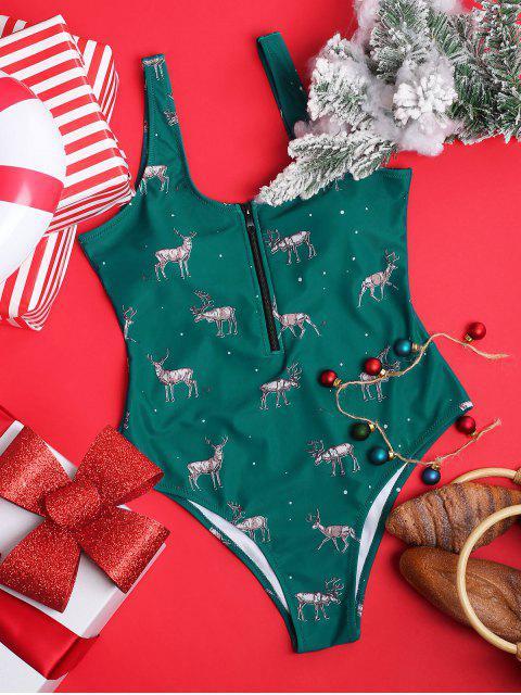 ZAFUL Рождественский принт оленя Половинная молния Слитный Купальник - Зелено-синий L Mobile
