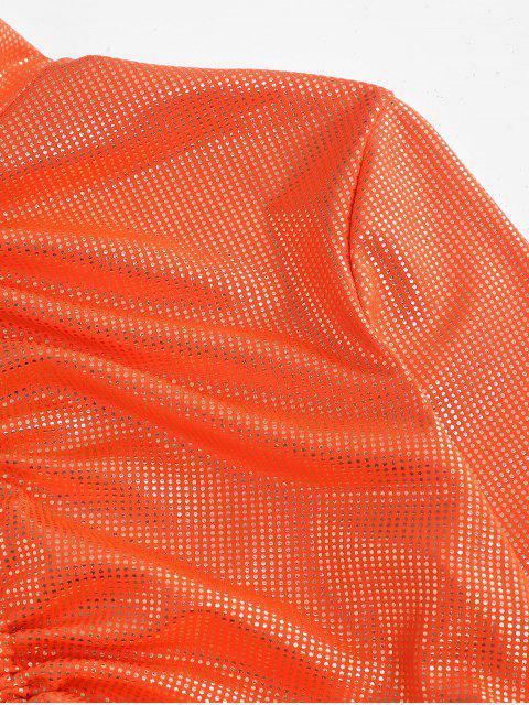 lady Metallic Foil Dot Cinched Neon Crop Tee - ORANGE M Mobile