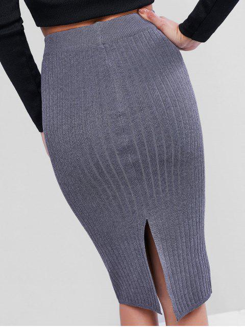 前口袋針織鉛筆裙 - 深灰色 One Size Mobile