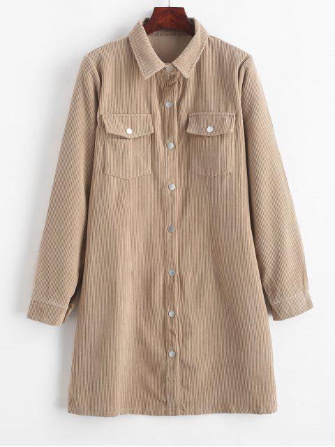 Corduroy Klappen-Tasche Langarm Kleid - Helles Khaki L Mobile