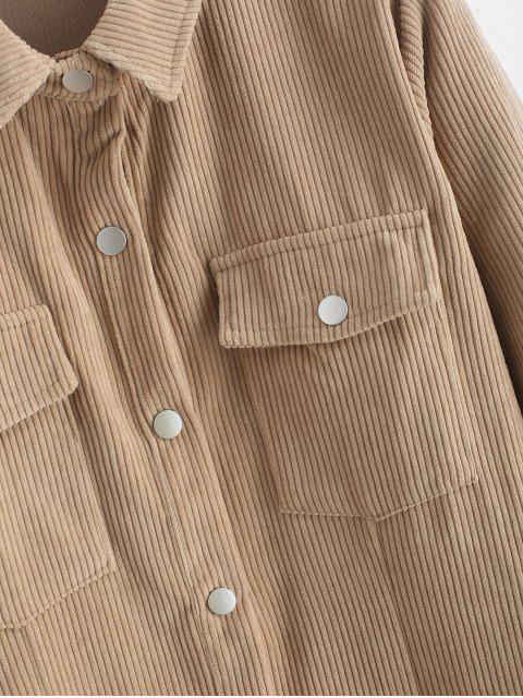 Robe Manches Longues avec Poche à Rabat en Velours - Kaki Léger L Mobile