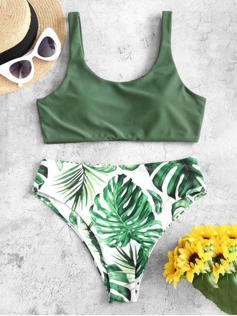 buy ZAFUL Palm Leaf Flower High Leg Tank Bikini Swimsuit - HAZEL GREEN M Mobile