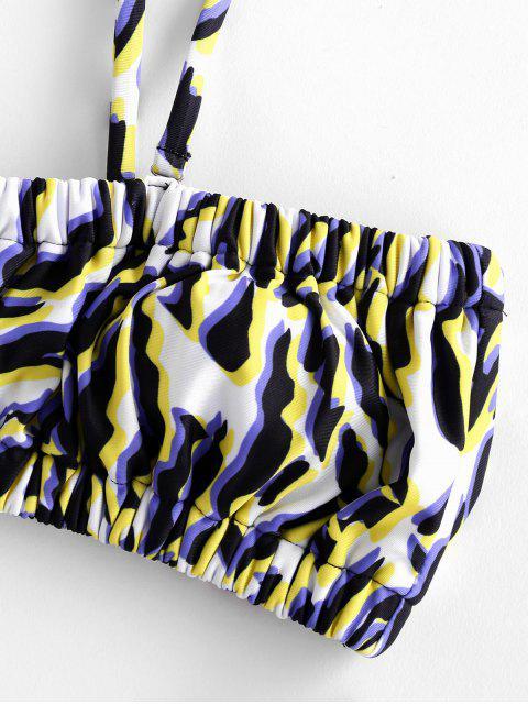 latest ZAFUL Ruched High Cut Print Bikini Swimsuit - MULTI-A M Mobile