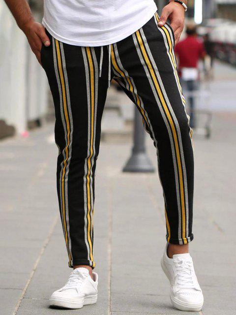 women Vertical Striped Lounge Pencil Pants - YELLOW L Mobile