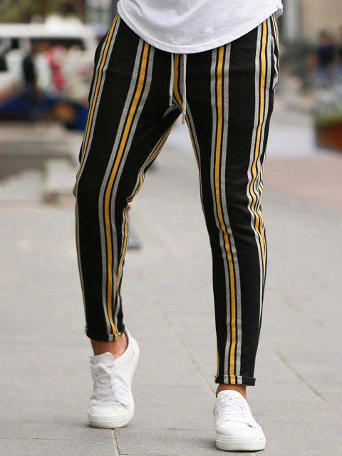 outfit Vertical Striped Lounge Pencil Pants - YELLOW M Mobile
