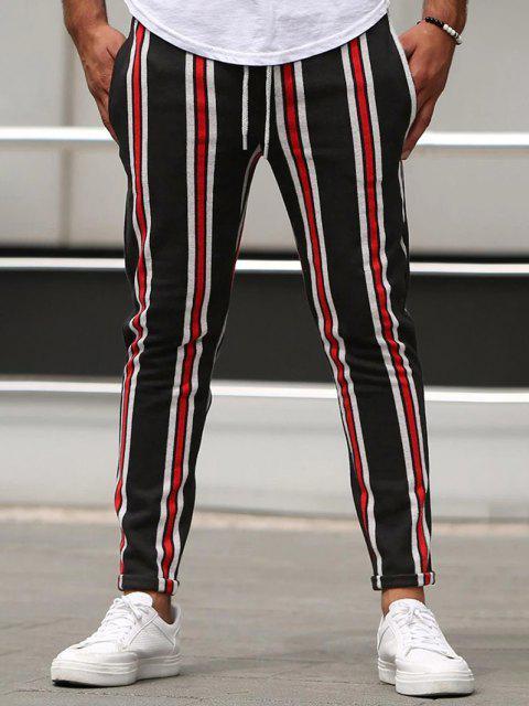 Pantalones Tipo Lápiz a Rayas Verticales - Rojo L Mobile