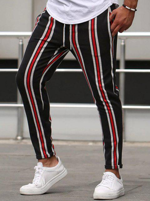 ladies Vertical Striped Lounge Pencil Pants - RED S Mobile