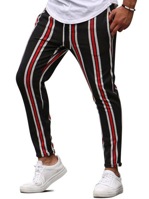 women Vertical Striped Lounge Pencil Pants - RED XS Mobile
