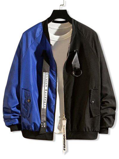 Letter Graphic Print Two Tone Panel Raglan Sleeve Jacket - Blue 2xl