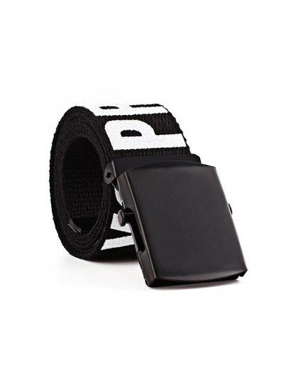 Letter Knitted Canvas Wide Buckle Tape Belt - Night