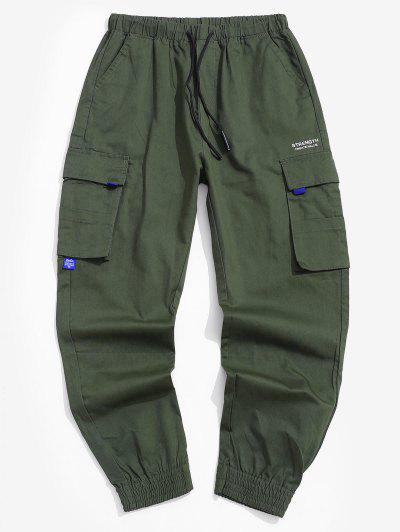 Pocket Decorated Letter Printed Cargo Pants - Army Green S