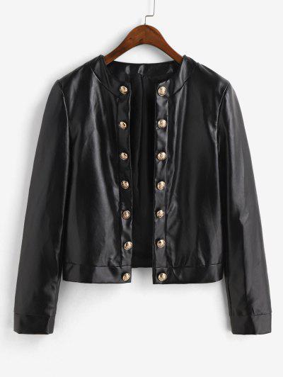 ZAFUL Metallic Button Front Shoulder Pads PU Leather Jacket - Black S