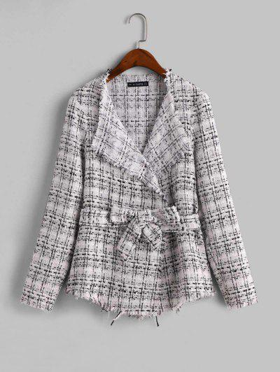 ZAFUL Frayed Belted Plaid Tweed Skirted Jacket - Multi-a L