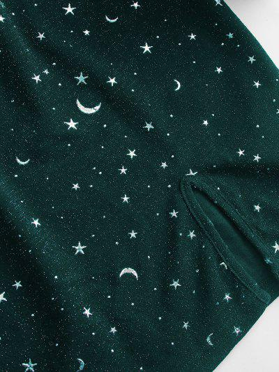 ZAFUL Moon and Star Metallic Thread Cami Slit Dress, Dark green
