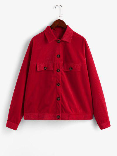 ZAFUL Button Front Faux Pockets Corduroy Shirt Jacket - Red Xl