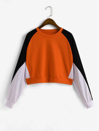 Pullover Colorblock Raglan Sleeve Sweatshirt - Multi-a L
