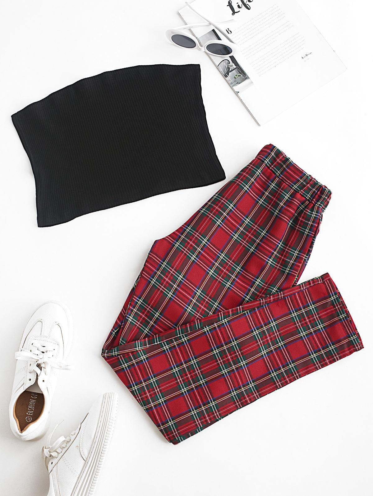Solid Strapless Top and Plaid Pants Set
