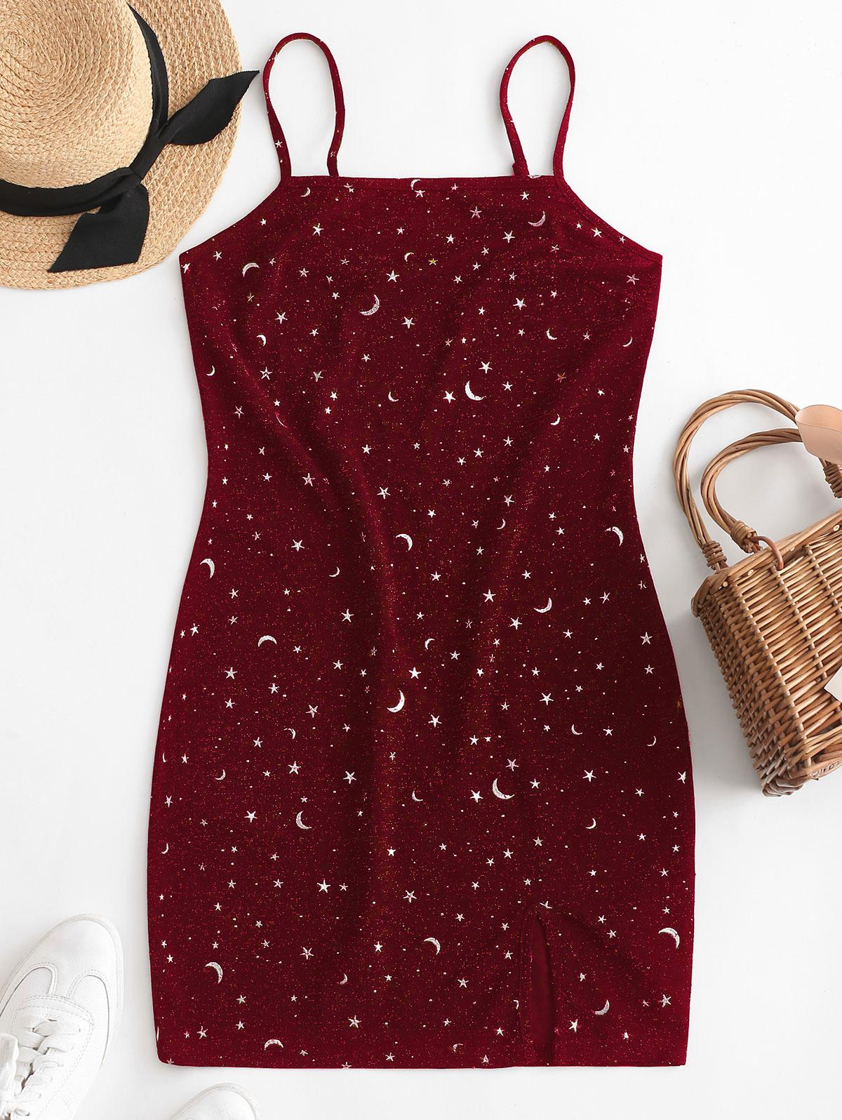 ZAFUL Moon and Star Metallic Thread Cami Slit Dress, Red wine