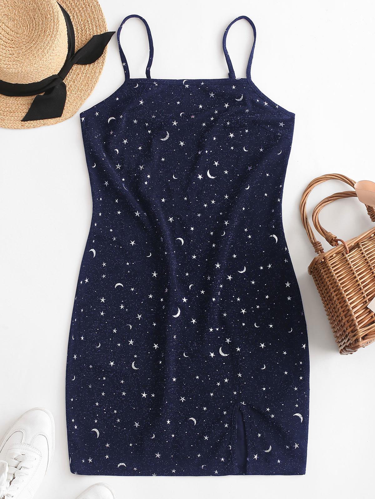 ZAFUL Moon and Star Metallic Thread Cami Slit Dress