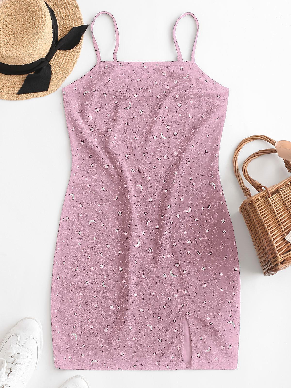 ZAFUL Moon and Star Metallic Thread Cami Slit Dress, Lipstick pink