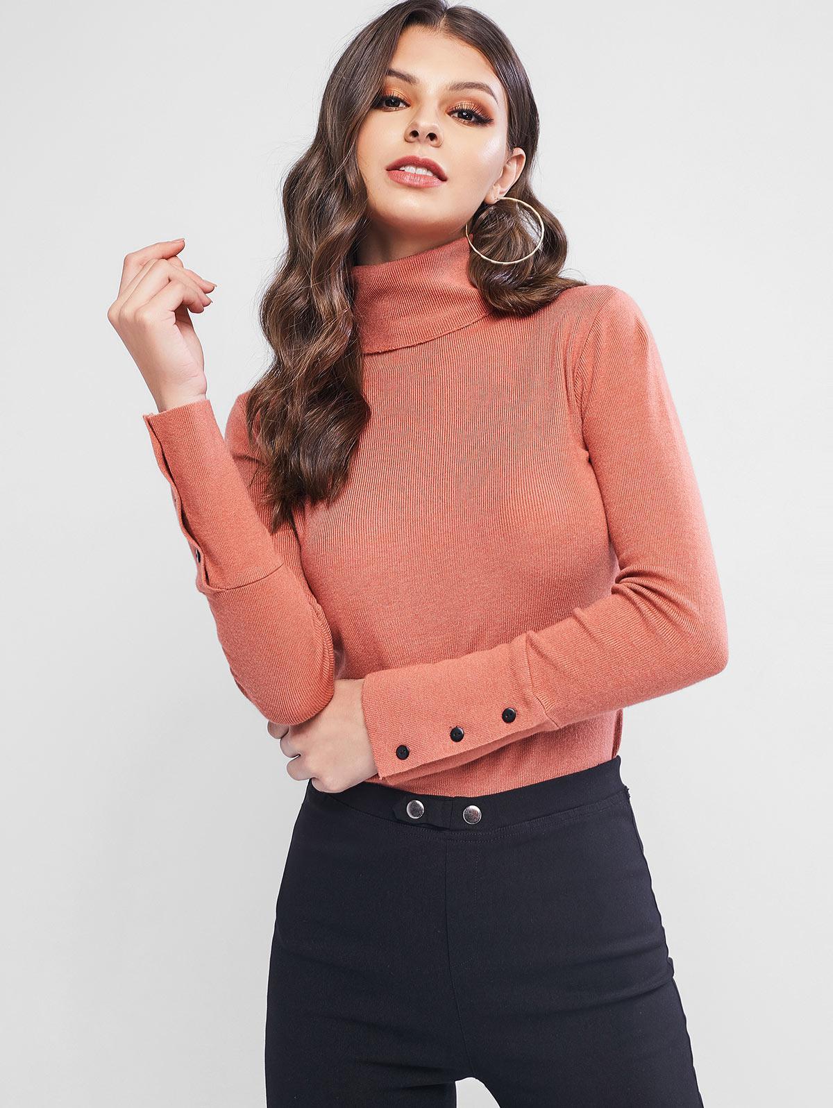 Turtleneck Slim Buttoned Cuff Sweater