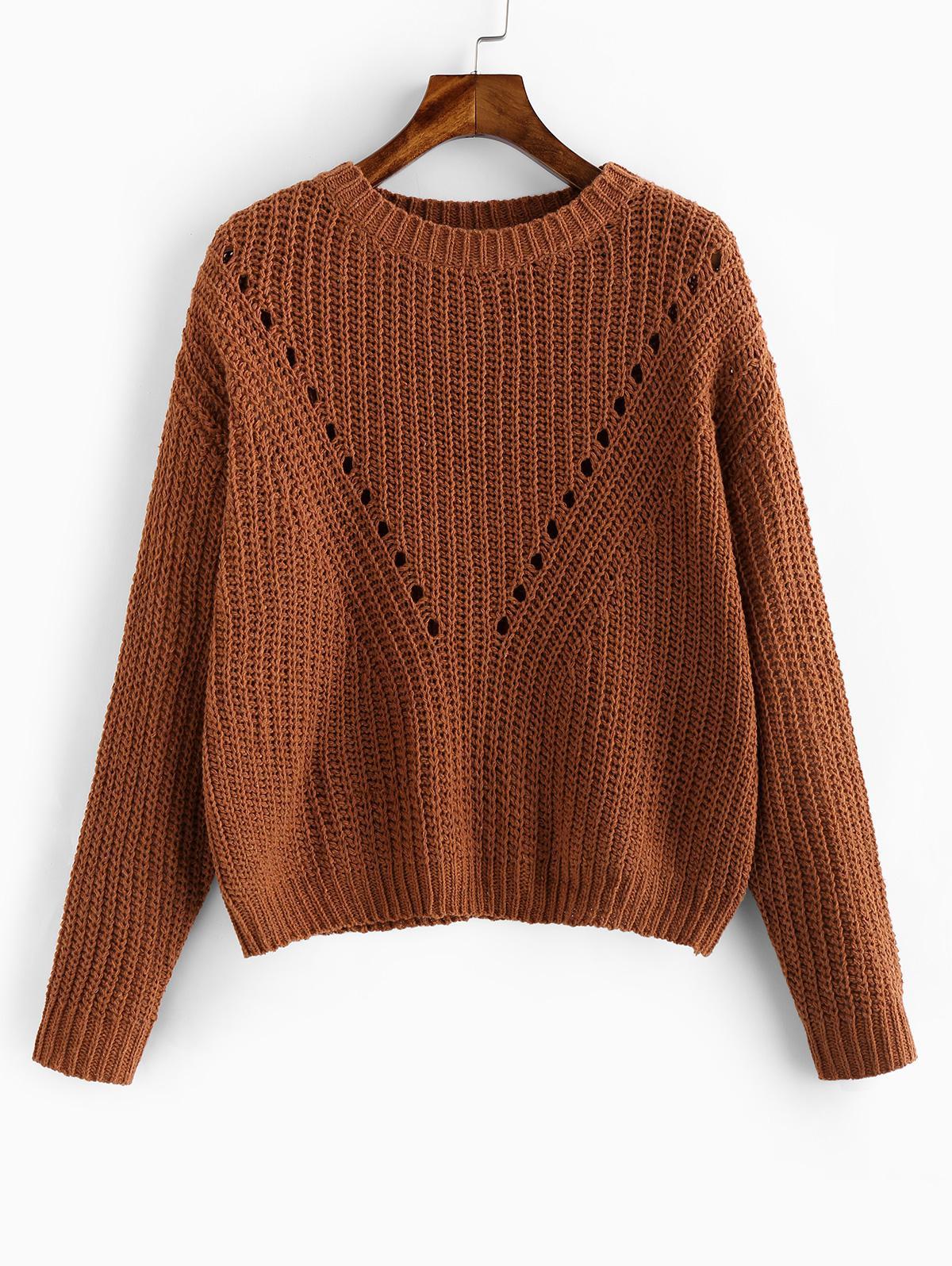ZAFUL Pointelle Eyelet Drop Shoulder Sweater фото