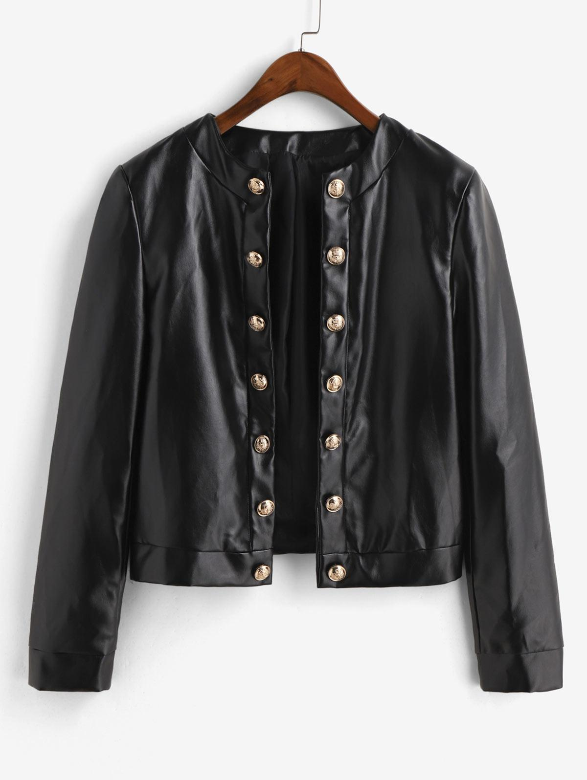 ZAFUL Metallic Button Front Shoulder Pads PU Leather Jacket