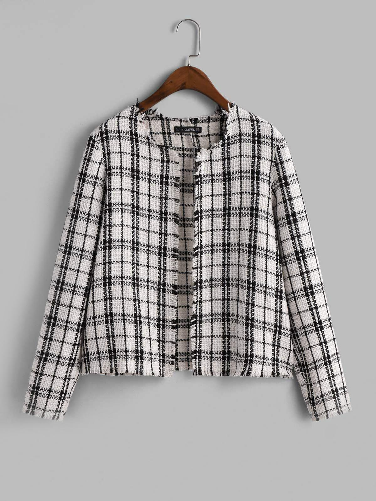 zaful Plaid Frayed Tweed Jacket
