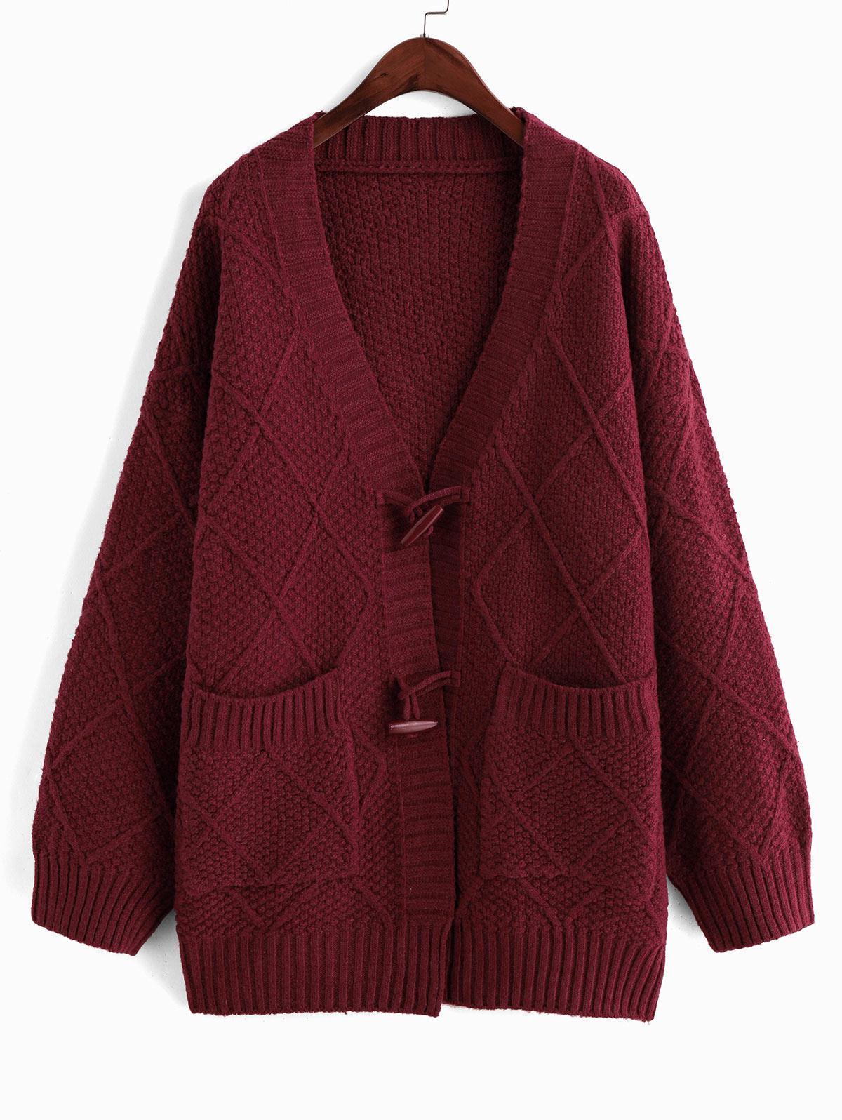 Christmas Horn Button Drop Shoulder Pocket Tunic Cardigan