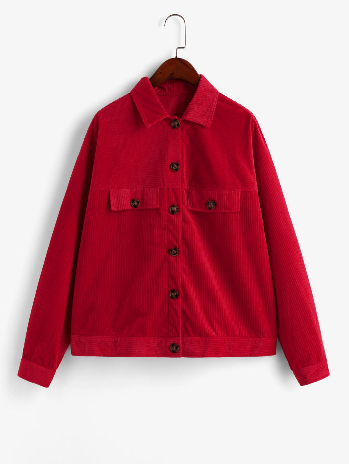ZAFUL Button Front Faux Pockets Corduroy Shirt Jacket