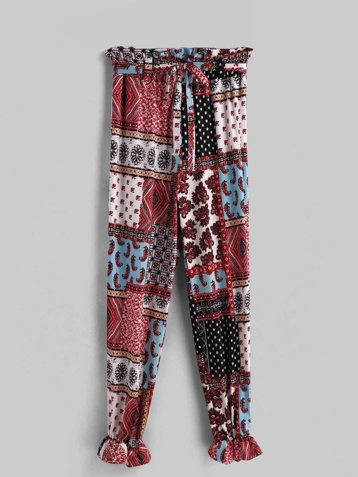 Printed Belted High Waist Bohemian Pants фото