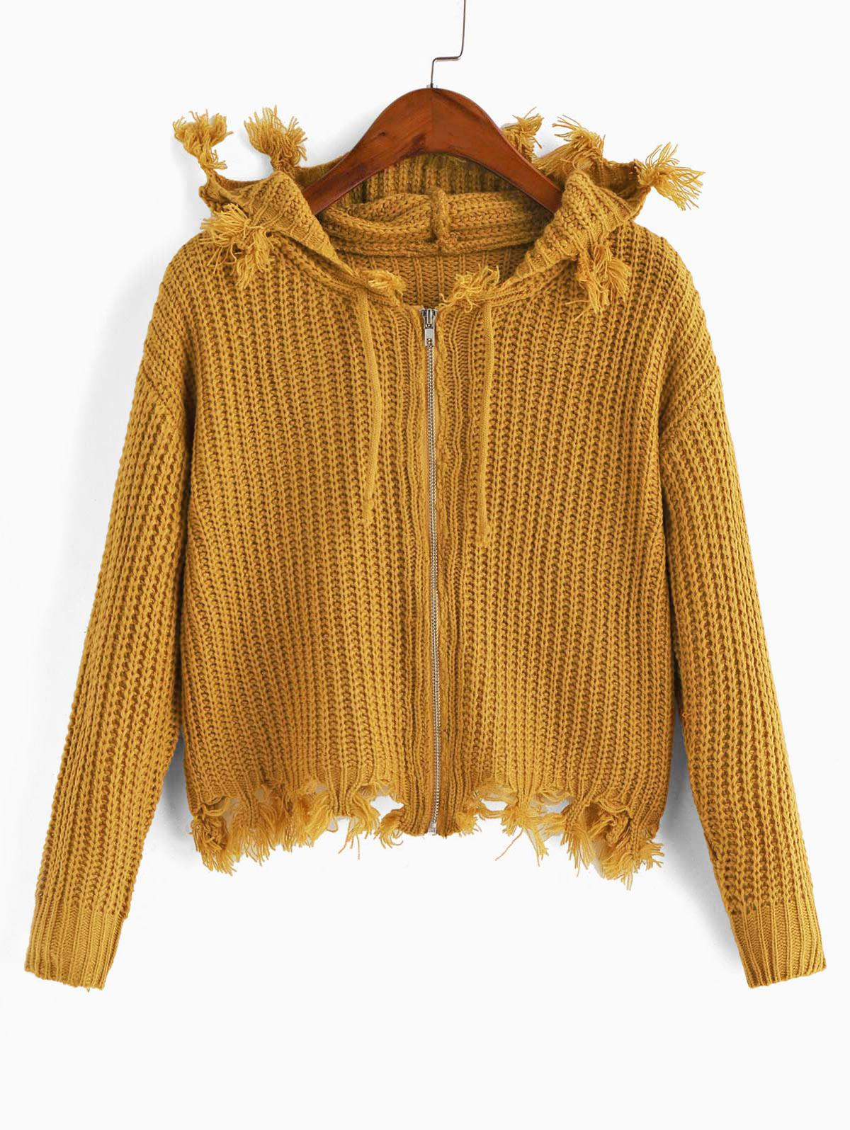 Hooded Zip Frayed Drawstring Cardigan
