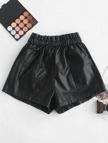 جيوب الرباط PU السراويل الجلدية - أسود M
