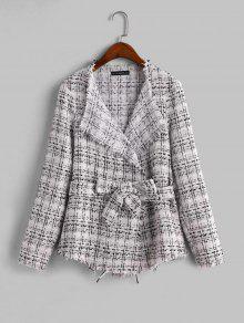 Frayed Plaid Tweed Skirted Jacket