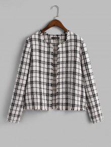 Plaid Frayed Tweed Jacket
