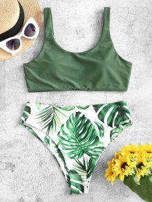 Tropical Leaf High Cut Bikini Swimwear