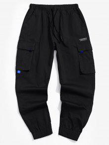 سروال جيب مزين رسالة مطبوعة للشحن - أسود L