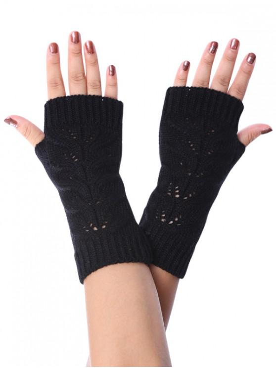 women's Hollow Braid Fingerless Knitted Gloves - BLACK