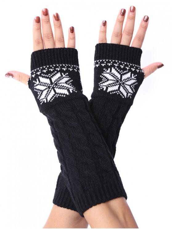 ถุงมือคริสต์มาสเกล็ดหิมะ Fingerless ถักเปีย - สีดำ