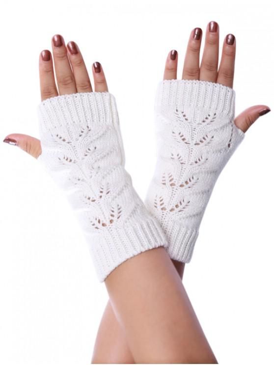 latest Hollow Braid Fingerless Knitted Gloves - WHITE