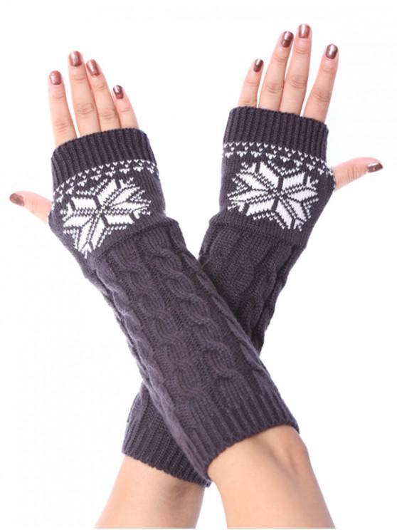 ถุงมือคริสต์มาสเกล็ดหิมะ Fingerless ถักเปีย - สีเทาเข้ม